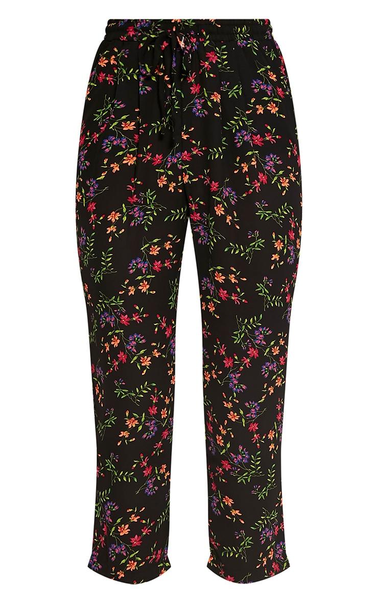 Diya Black Ditsy Floral Cropped Trousers 3