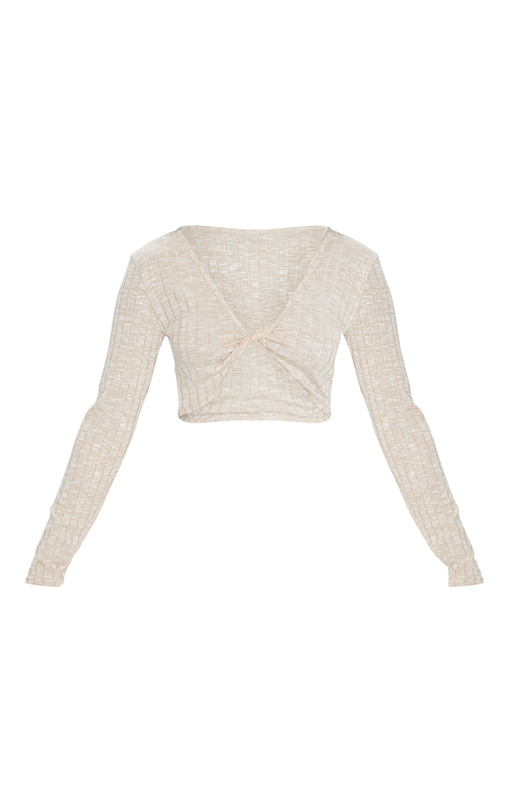 Oatmeal Long Sleeve Twist Ribbed Knitted Top 5