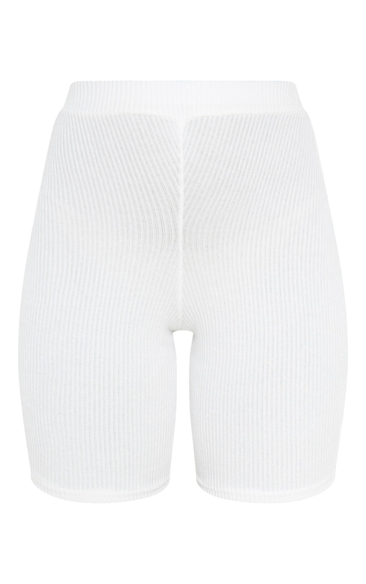 Cream Brushed Rib Bike Short 3