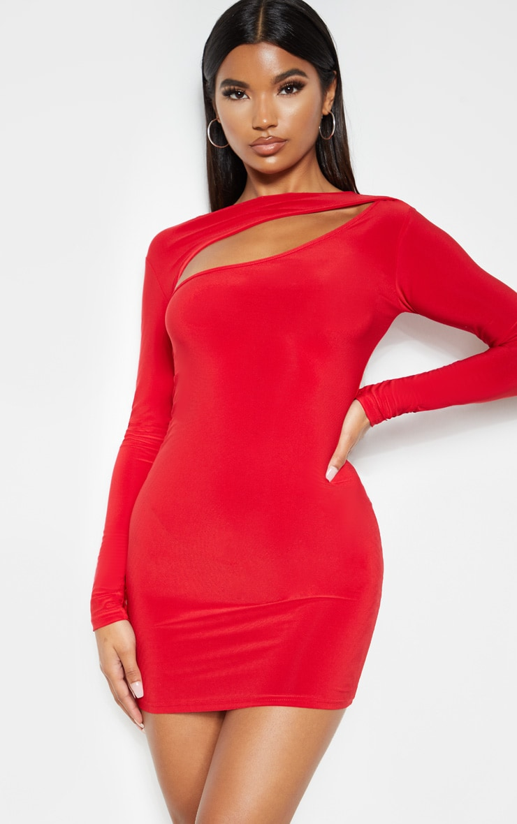 Red Slinky Long Sleeve Bodice Cut Out Bodycon Dress 4