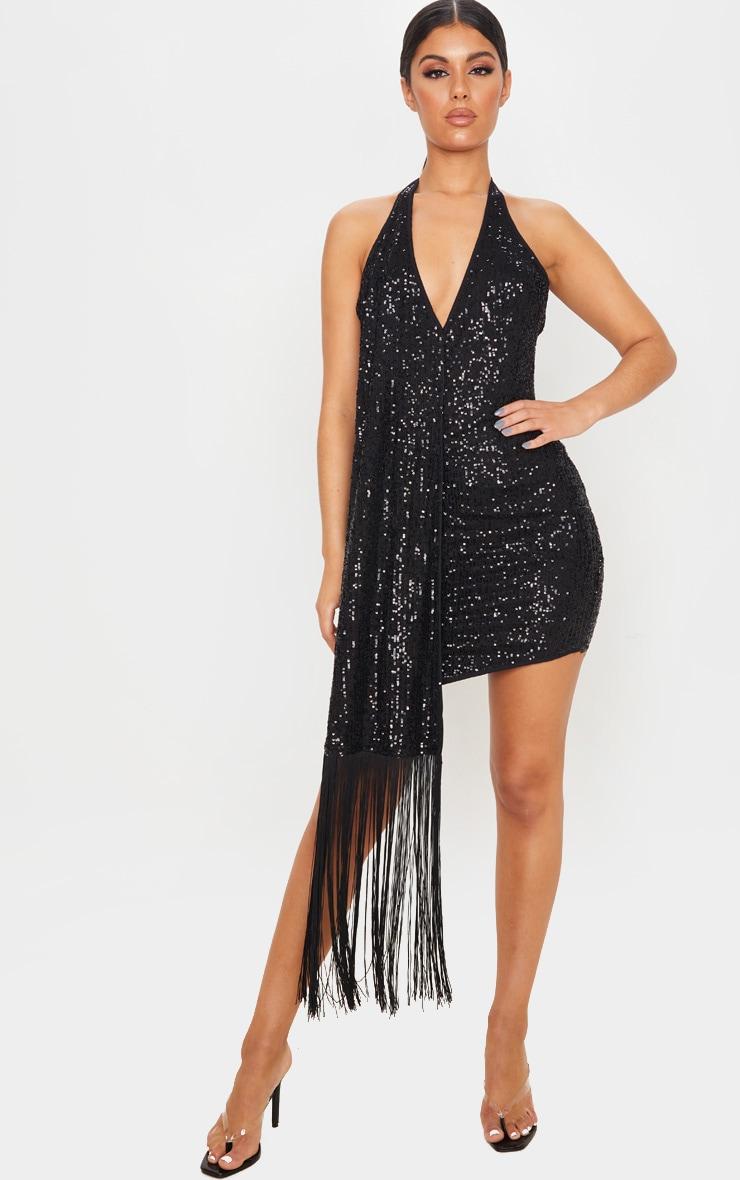 Black Sequin Halterneck Tassel Drape Bodycon Dress 1