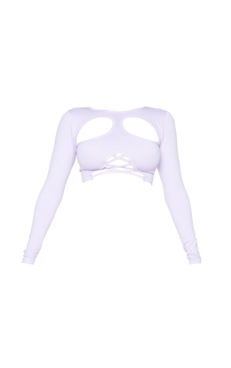 PRETTYLITTLETHING Shape Lilac Lace Up Sports Top 5