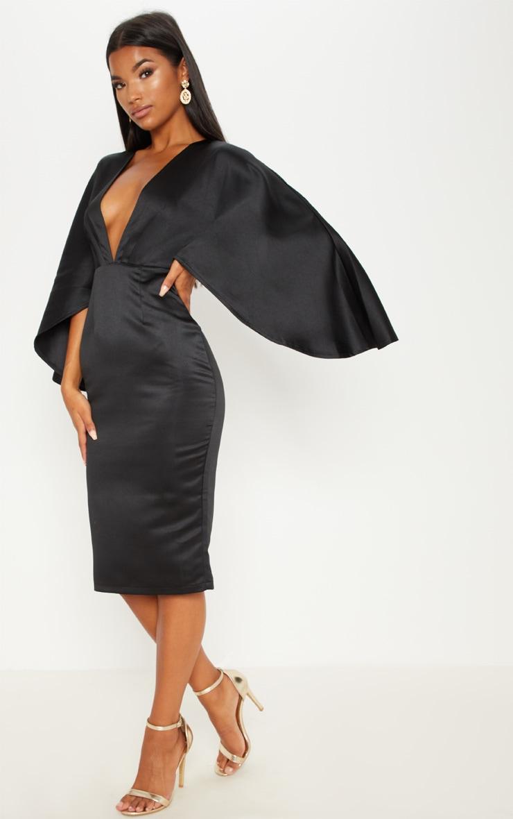 Black Satin Structured Cape Midi Dress 4