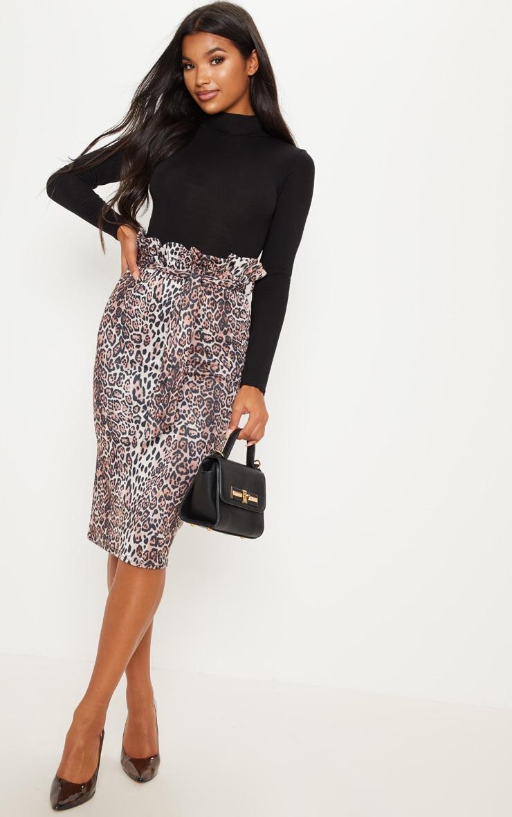 Jupe mi-longue taille ressérée à imprimé léopard