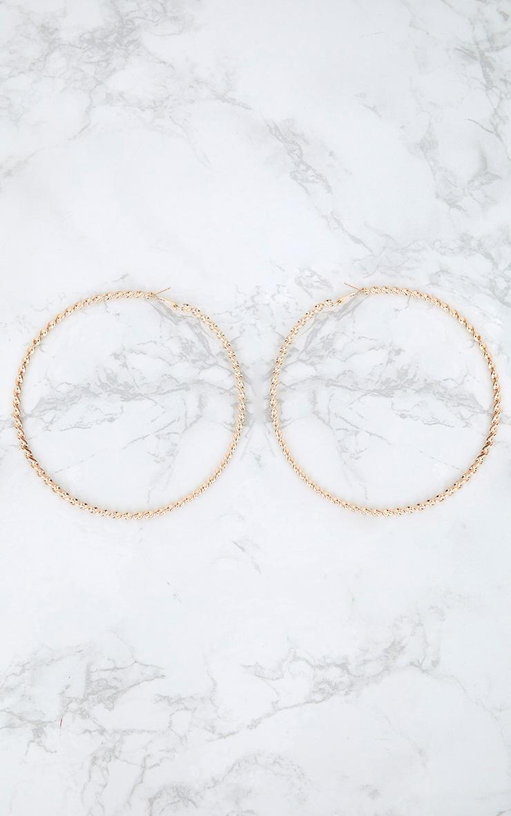 Gold Ridged Large Hoop Earrings 3