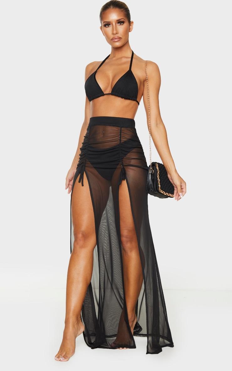 Black Split Ruched Maxi Skirt 1