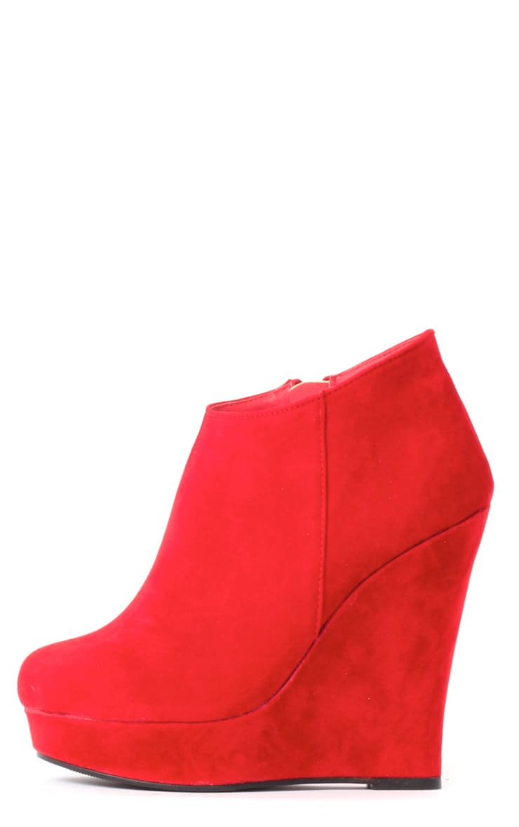 Cassie Red Wedge Boots 1