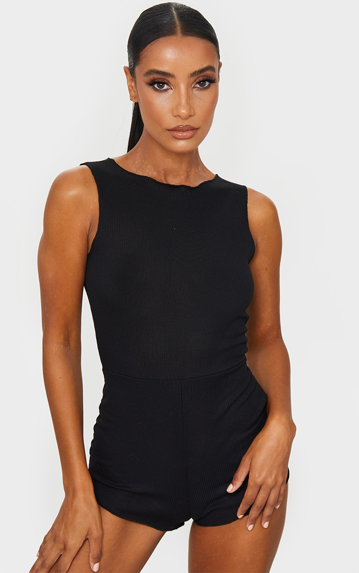 Black Soft Rib Sleeveless PJ Romper 1