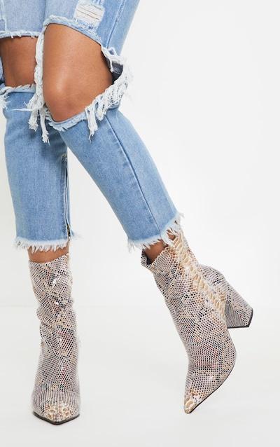 Snake Block Heeled Point Toe Sock Boot