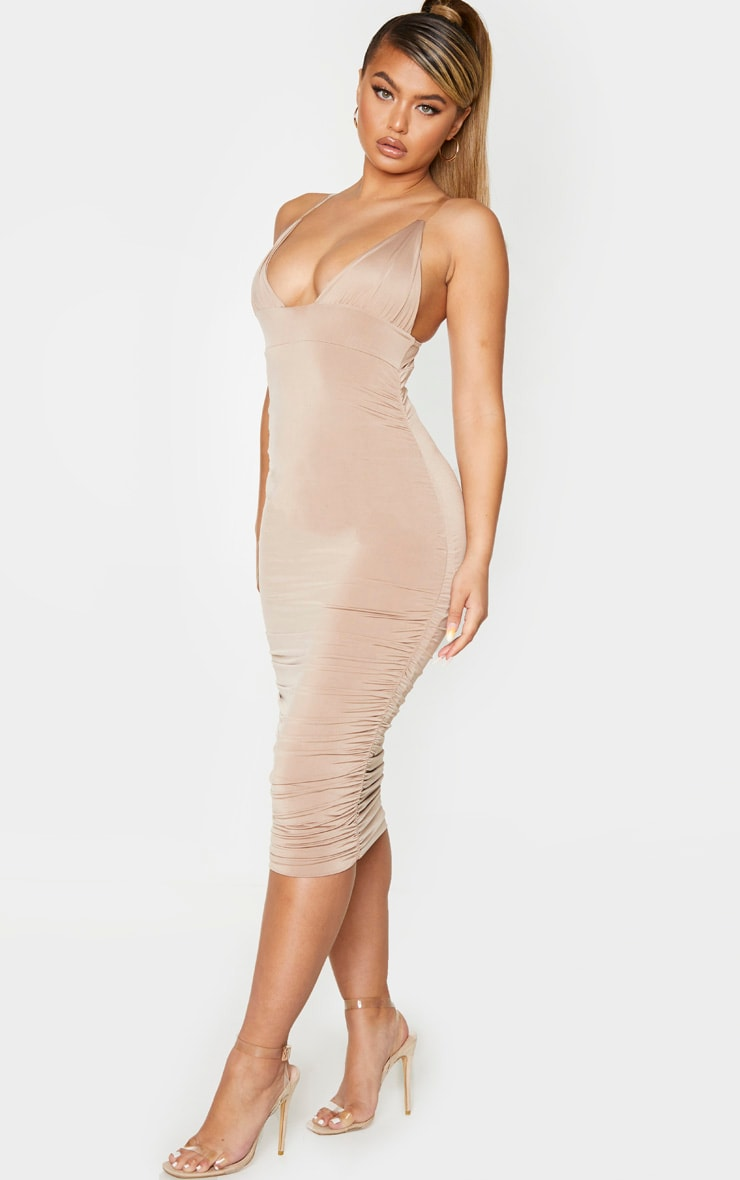 Taupe Slinky Ruched Clear Strap Midi Dress 3