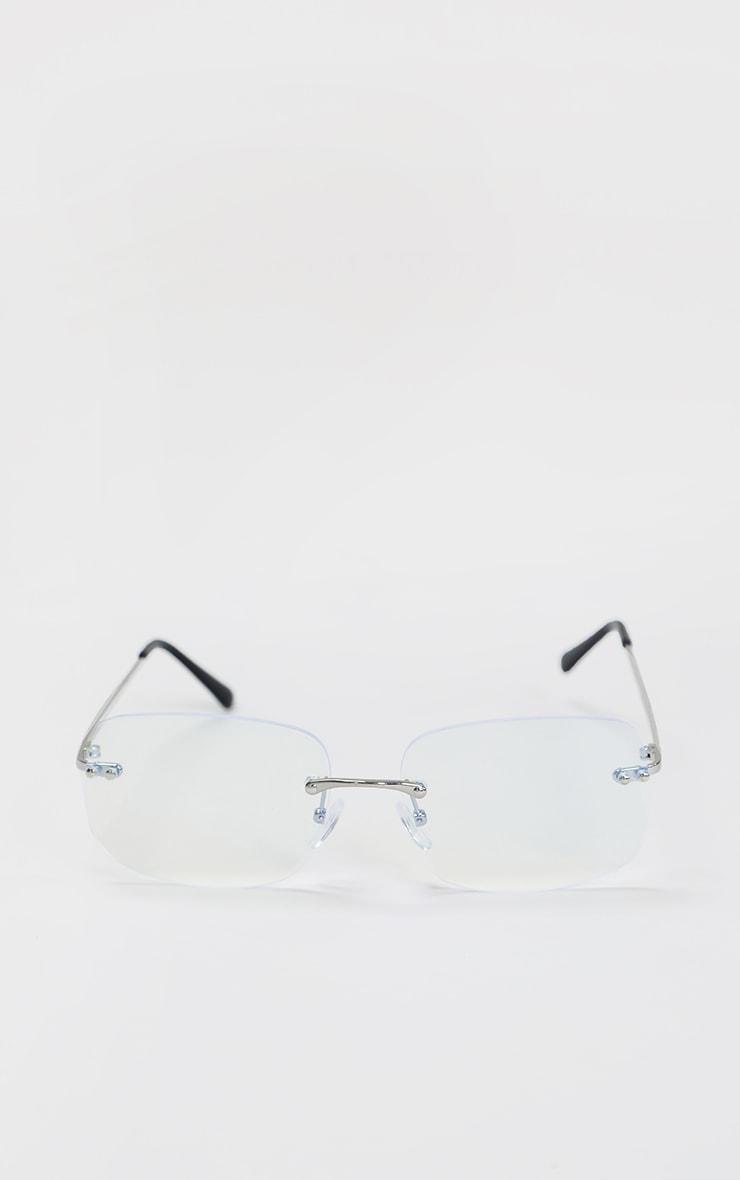 Clear Rimless Square Frame Sunglasses 2