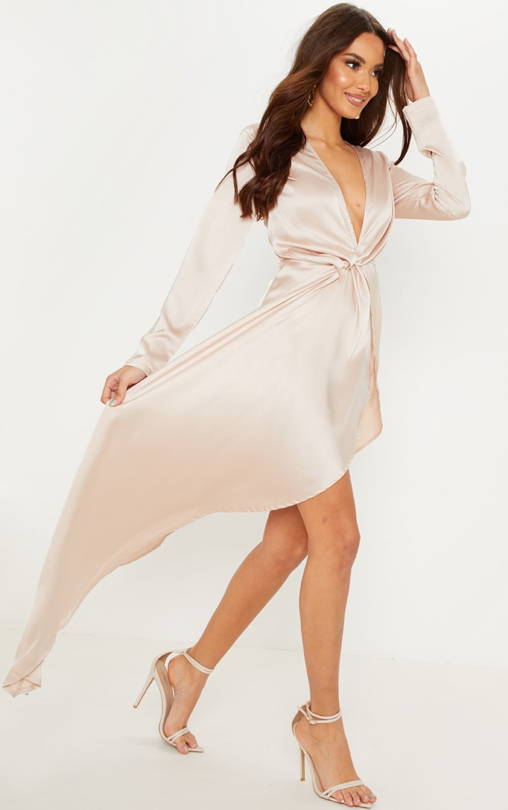 Champagne Asymmetric Hem Long Sleeve Plunge Satin Maxi Dress 4