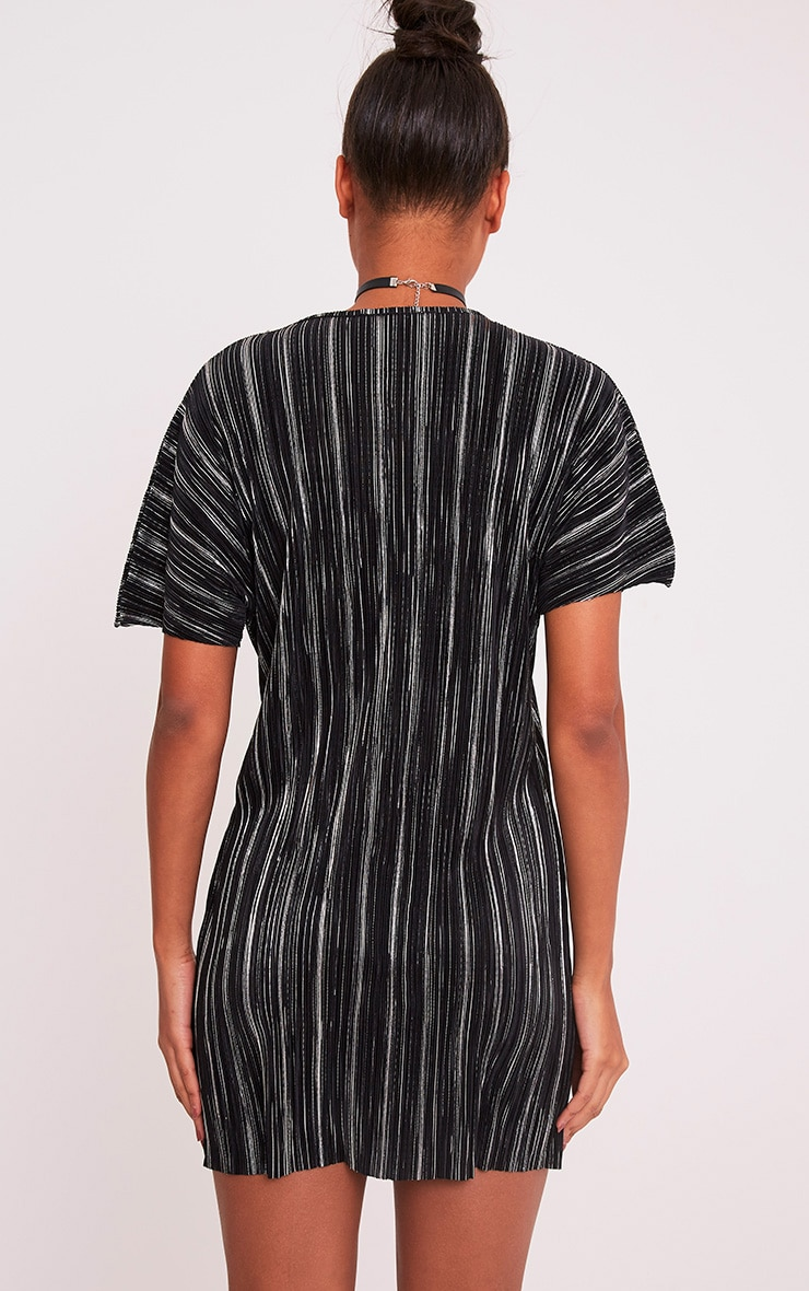 Fione Black Metallic Pleated T-Shirt Dress 2