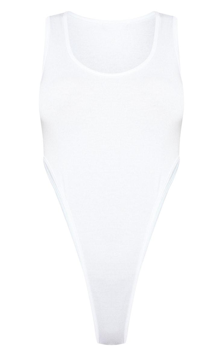 White Scoop Neck High Leg Bodysuit 3
