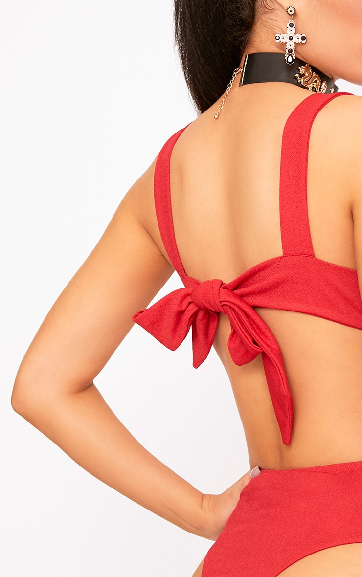 Red Open Bow Back Straight Thong Bodysuit 6
