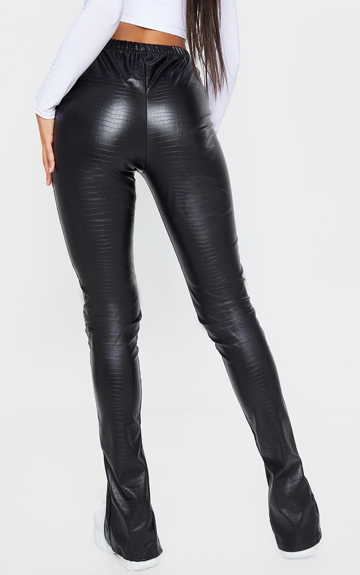 Black Croc Faux Leather Split Hem Trousers 3