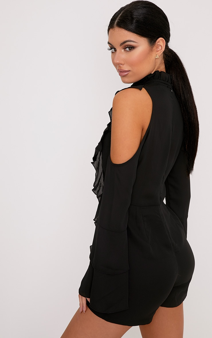 Samantha Black Ruffle Tie Neck Playsuit 2