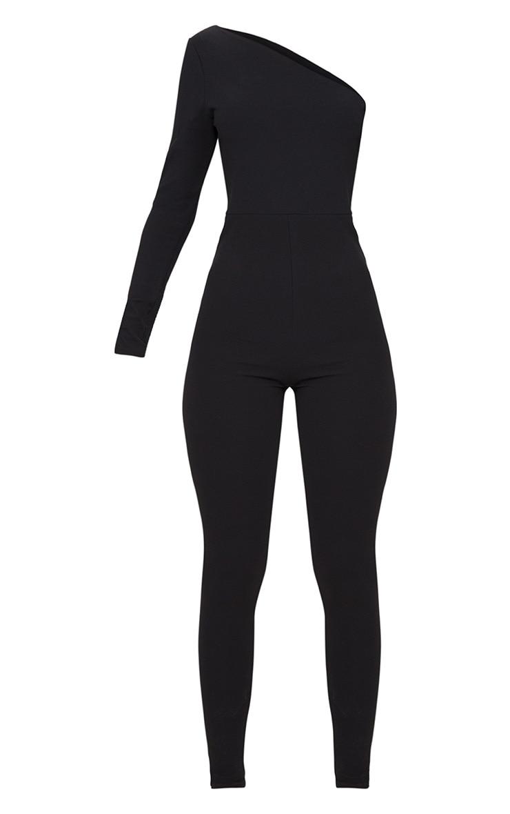 Black Long Sleeve One Shoulder Jumpsuit 3