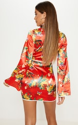 Red Satin Oriental Cut Out Flare Sleeve Bodycon Dress 2