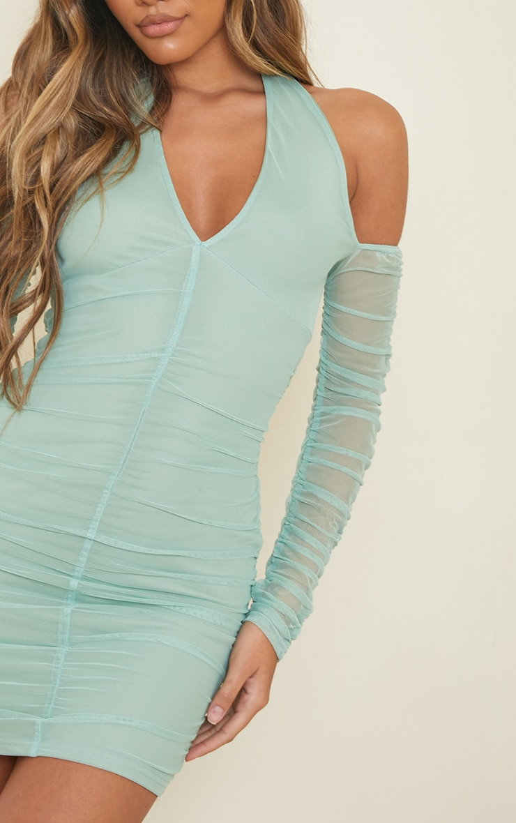 Washed Green Halterneck Long Sleeve Mesh Ruched Bodycon Dress 4