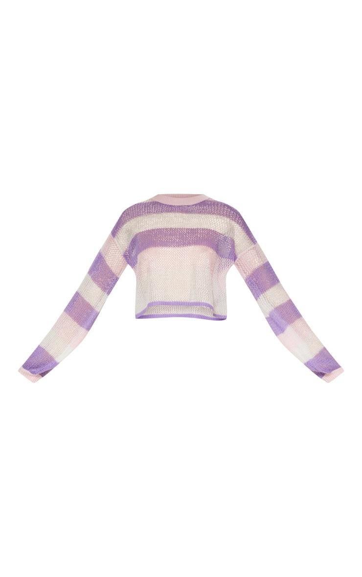 Pink Striped Cropped Laguna Jumper 4