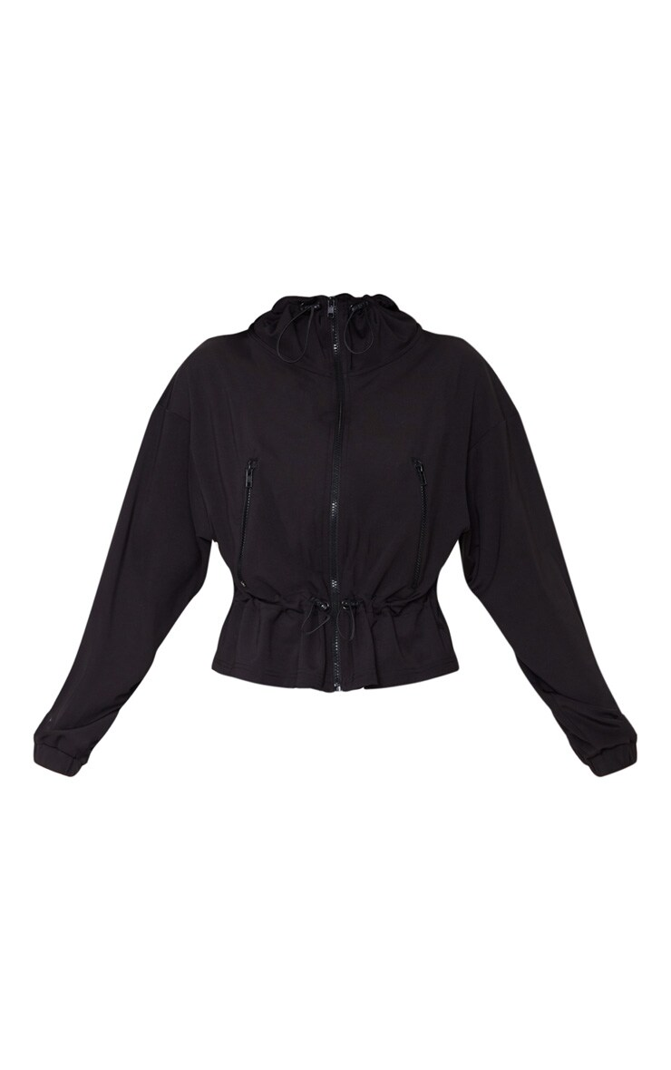 Black Soft Touch Funnel Neck Toggle Zip Front Sweater 3