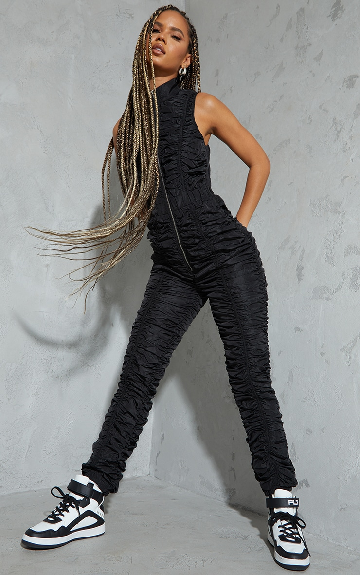 Black Ruched Shell Sleeveless Zip Jumpsuit 3