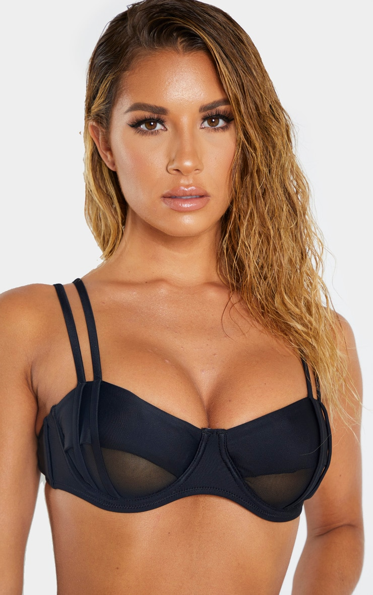 Black Underwired Mesh Cut Out Bikini Top 6