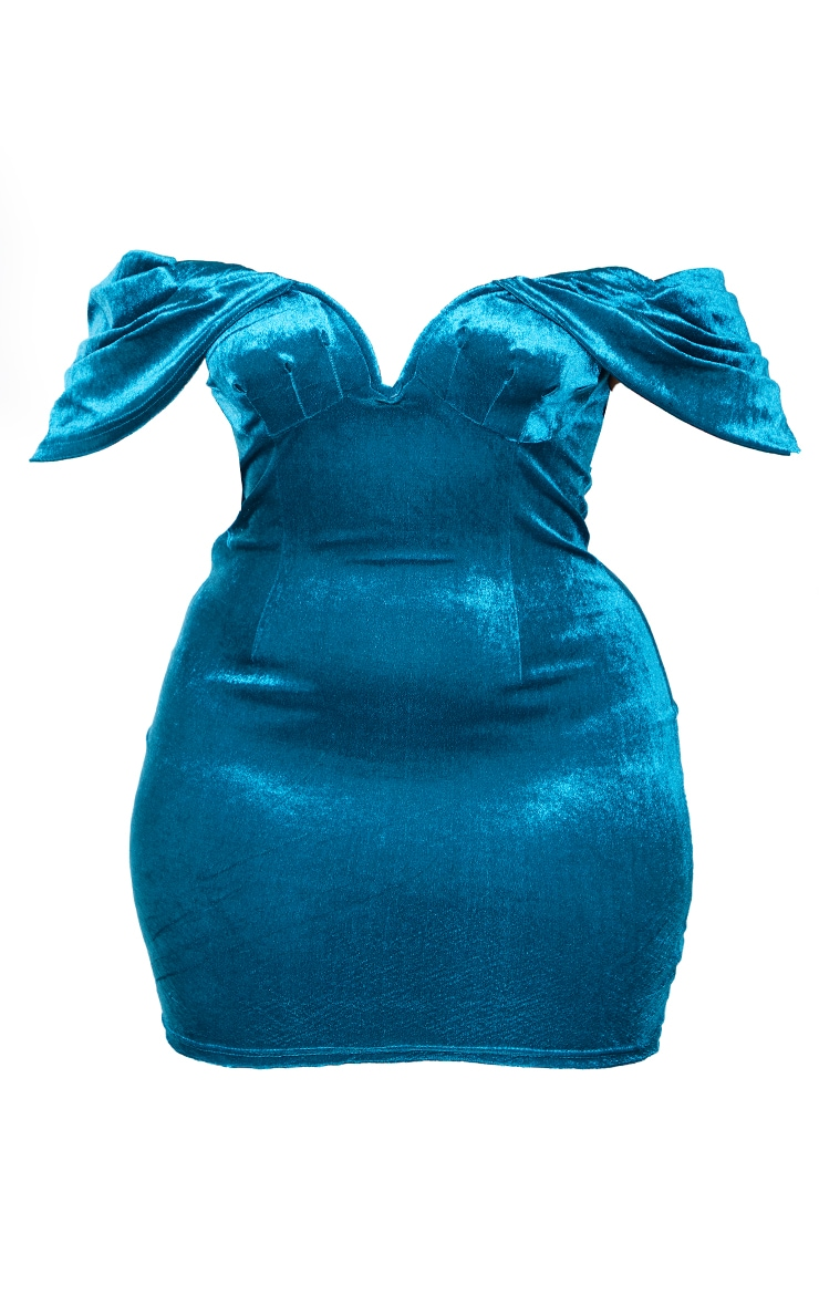 Plus Teal Velvet V Bar Bodycon Dress 5