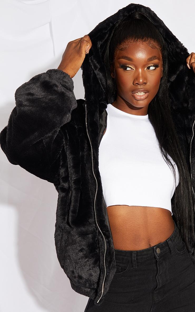 Tall Black Faux Fur Balloon Sleeve Hooded Jacket 4