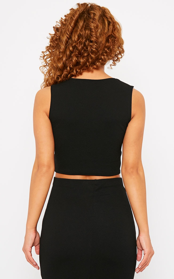 Tess Black Crepe Cross Front Crop Top 2