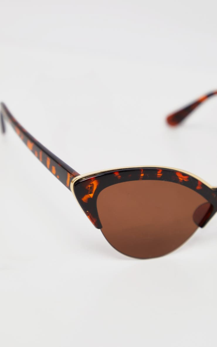 Brown Tortoiseshell  Gold Metal Edge Pointed Cat Eye Sunglasses        3