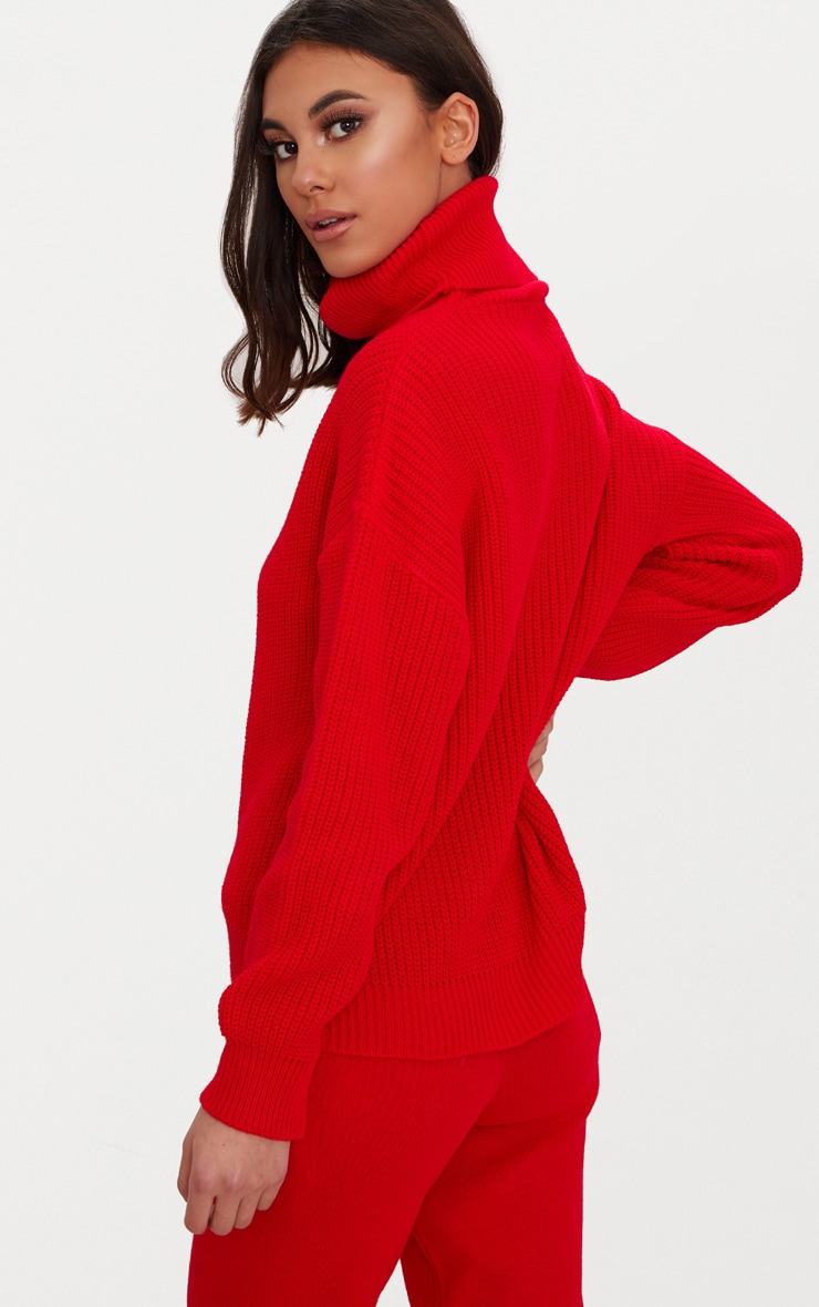 Red Roll Neck Basic Jumper 2