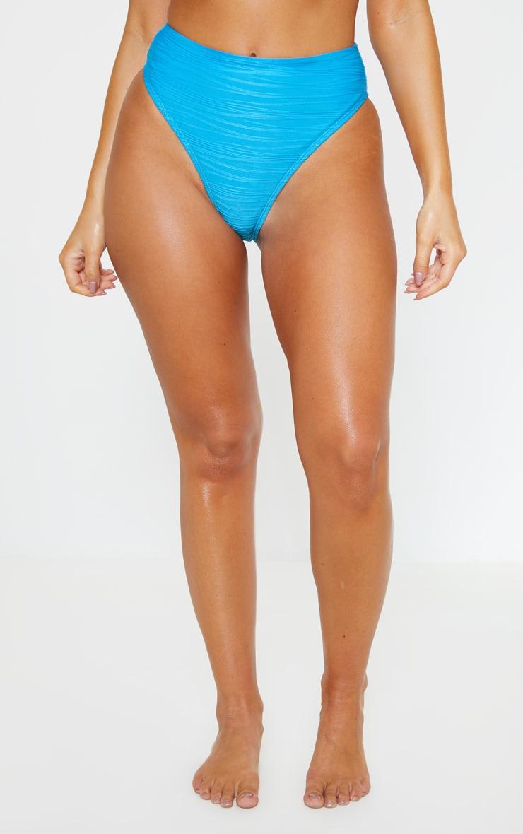 Turquoise High Waist Textured Bikini Bottom 2