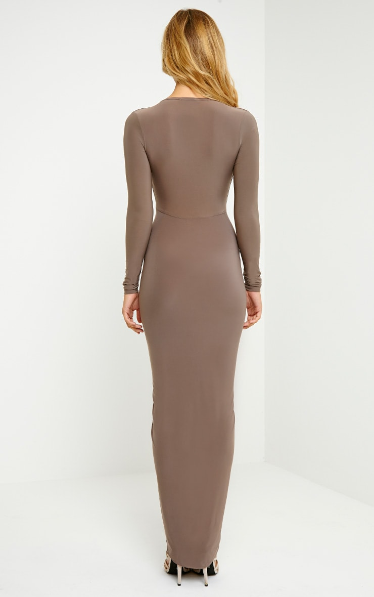 Ellie Mocha Slinky Ruched Maxi Dress 2
