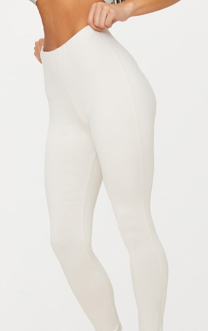 Cream High Waisted Cotton Stretch Leggings  4