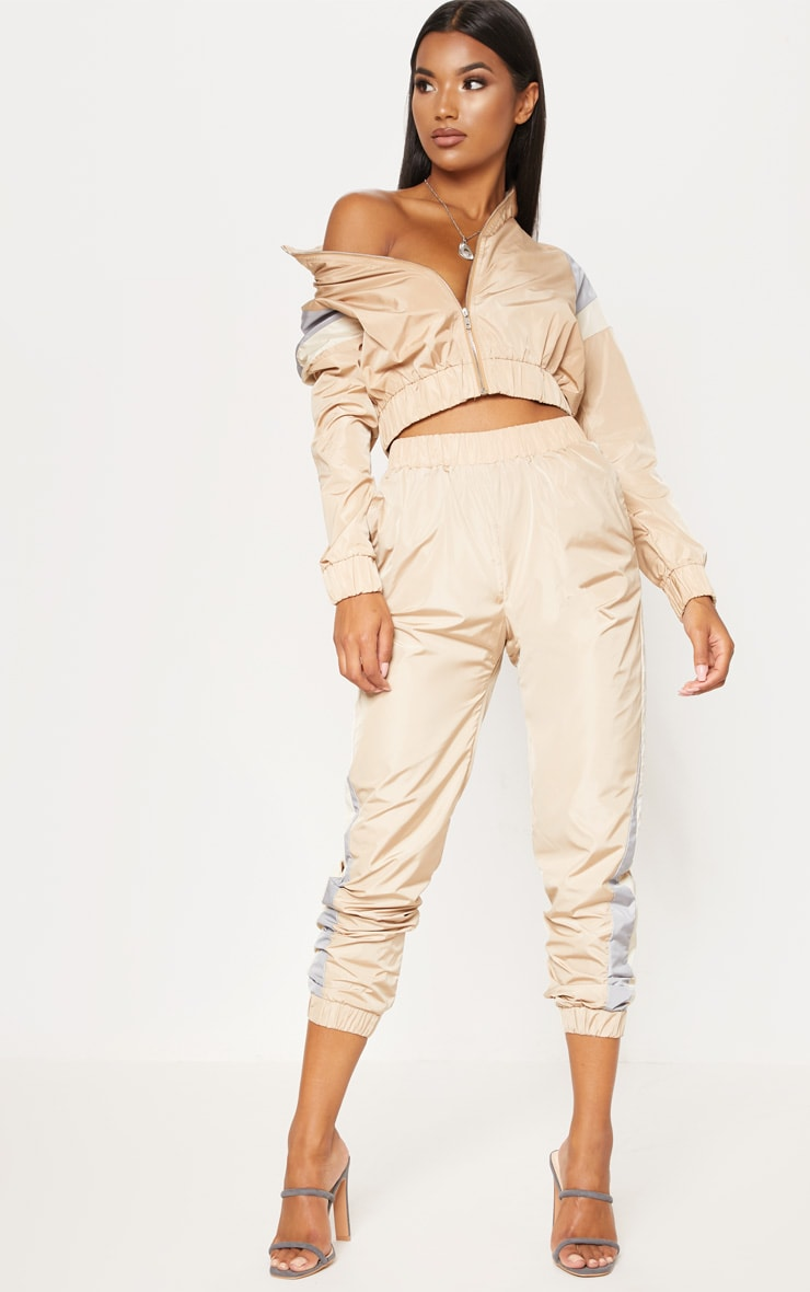 Sand Stripe Shell Tracksuit Top 1
