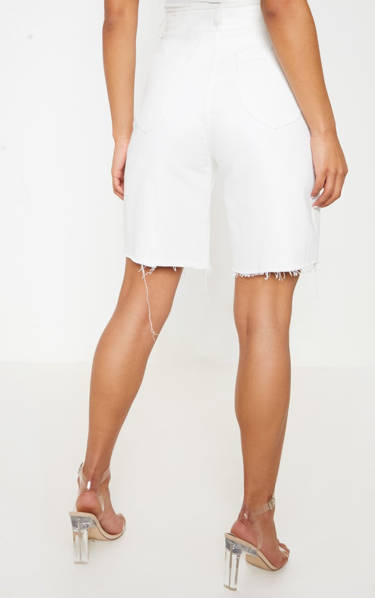 White Heavy Distressed Mom Shorts  4