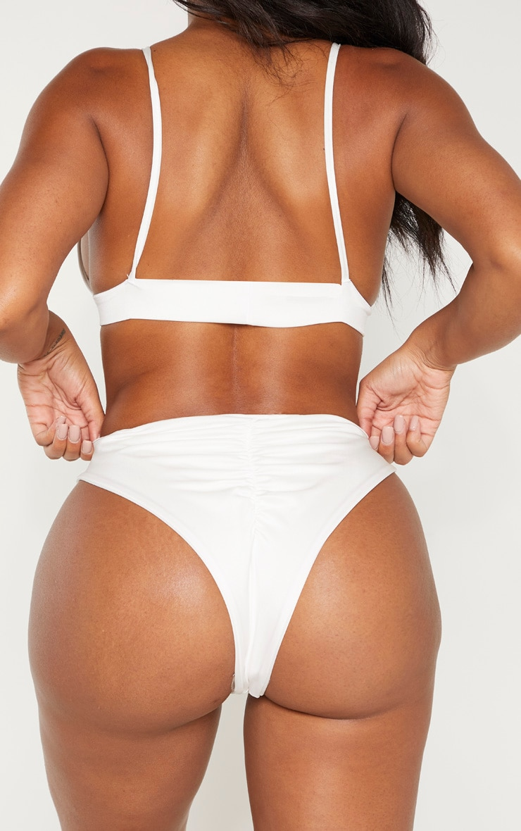 Shape White High Rise Ruched Bum Bikini Bottom 3