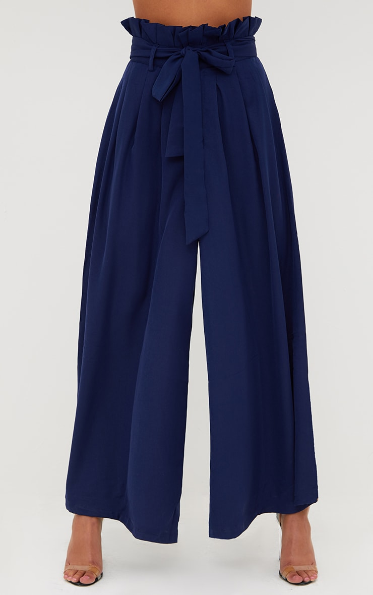 Navy Wide Leg Paperbag Trousers 2