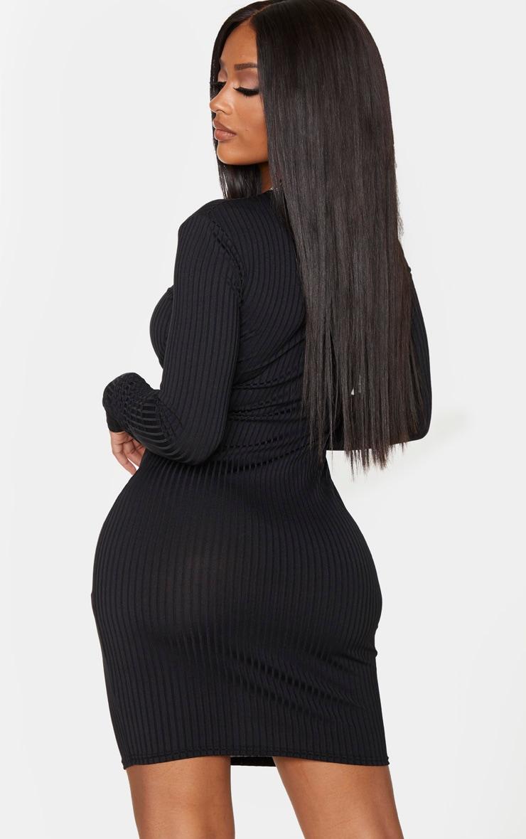 Shape Black Rib Underbust Detail Bodycon Dress 2