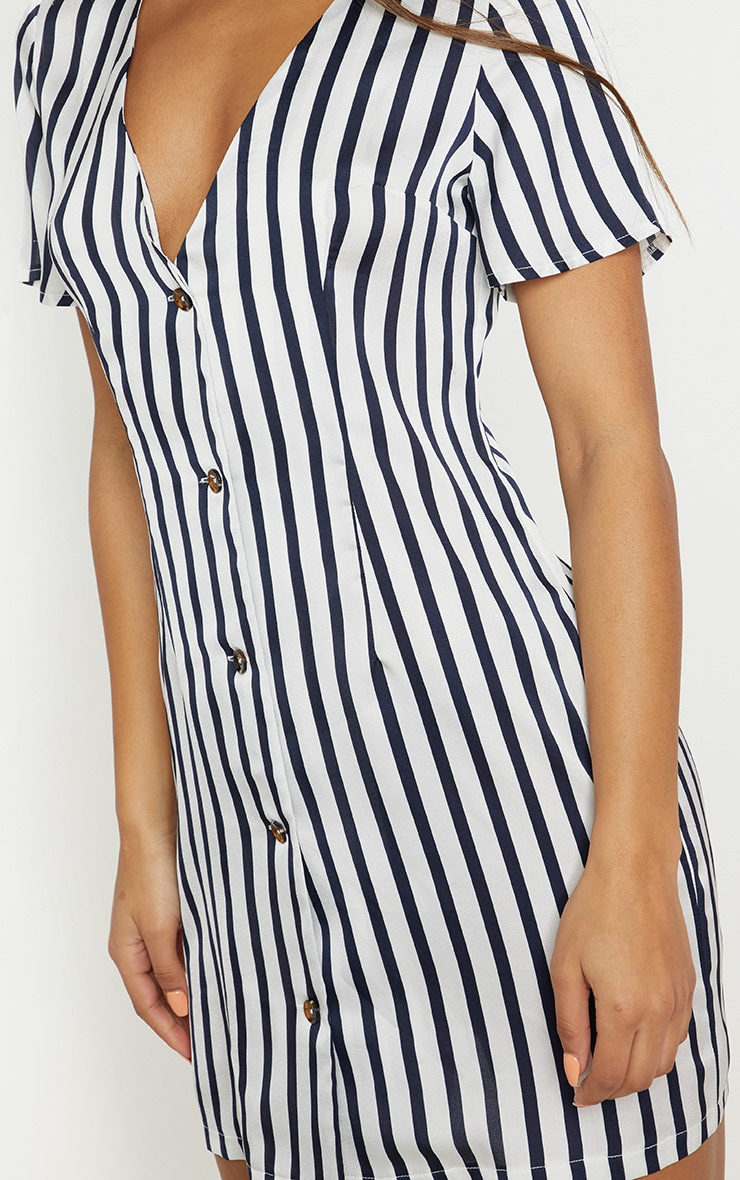 White Stripe Button Front Shift Dress 4
