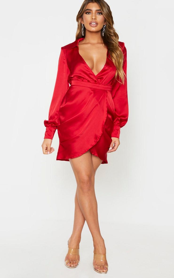 Red Satin Plunge Neck Shoulder Pad Wrap Dress 3