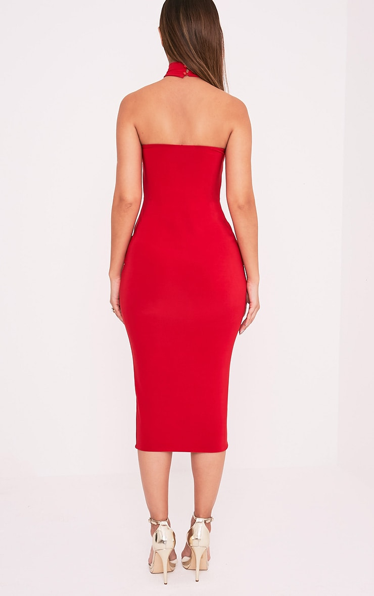 Joanna Red Slinky Cut Out Midi Dress
