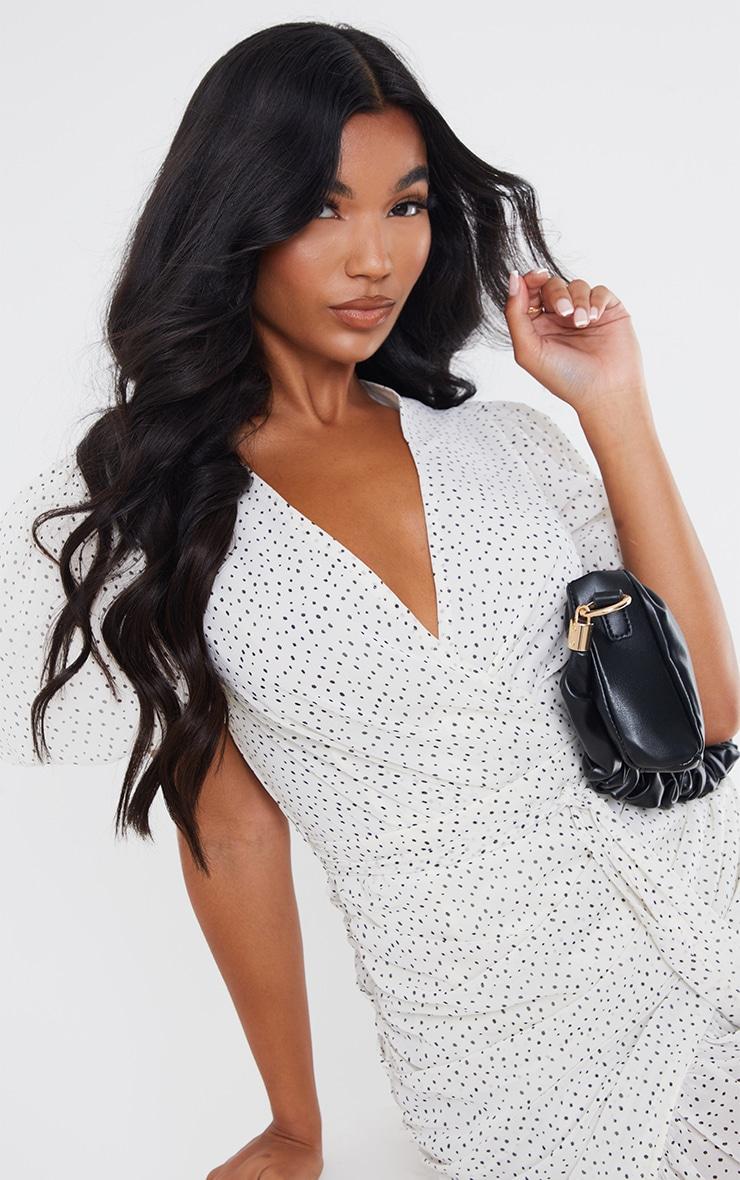 White Polka Dot Chiffon Puff Sleeve Ruched Bodycon Dress 4