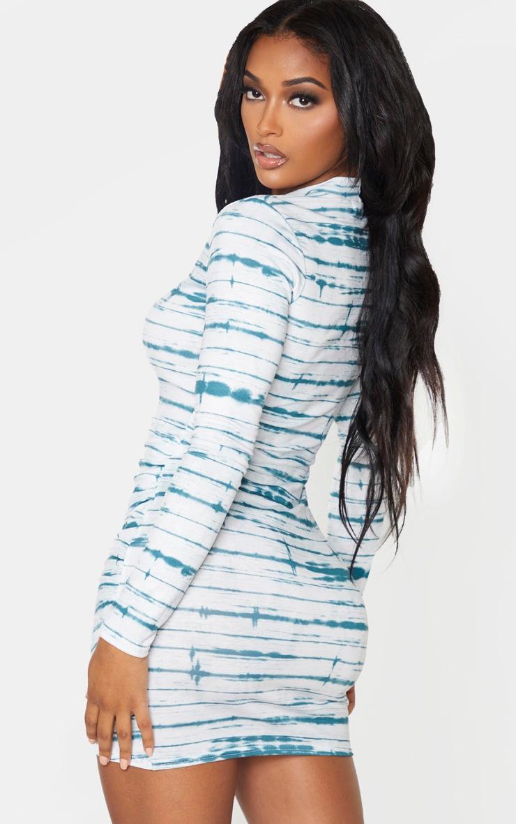 Shape Teal Tie Dye High Neck Bodycon Dress 2