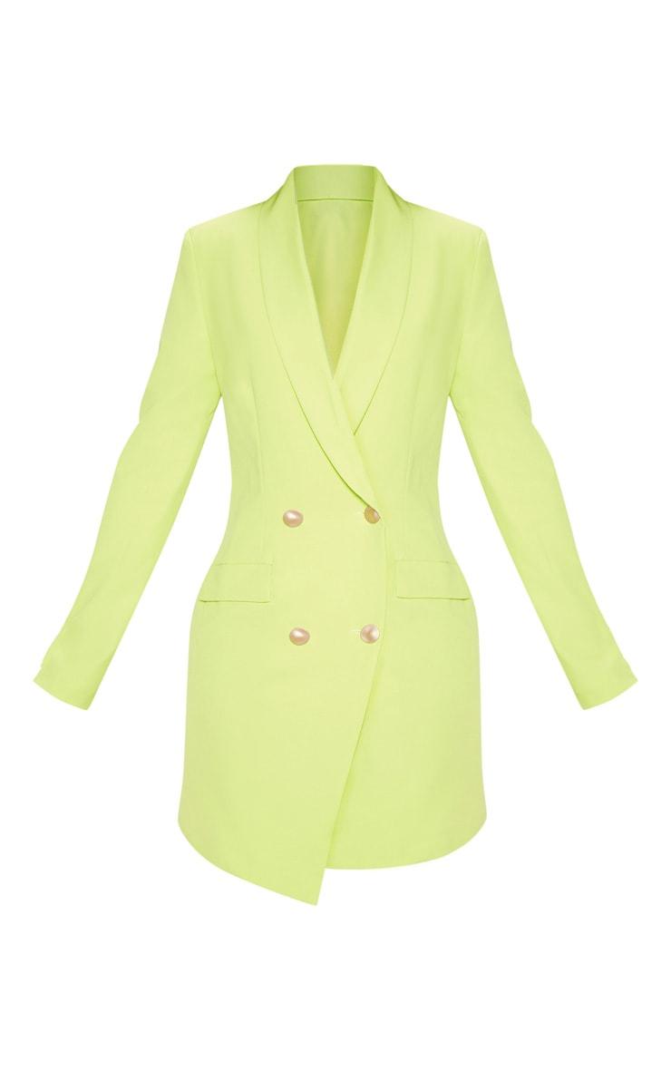 Bright Lime Gold Button Blazer Dress 3