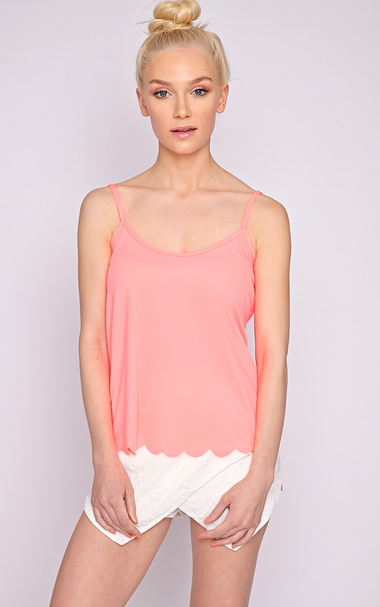 Kailey Neon Pink Scallop Vest 5
