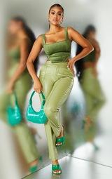 Green Embossed Velvet Crop Top 3