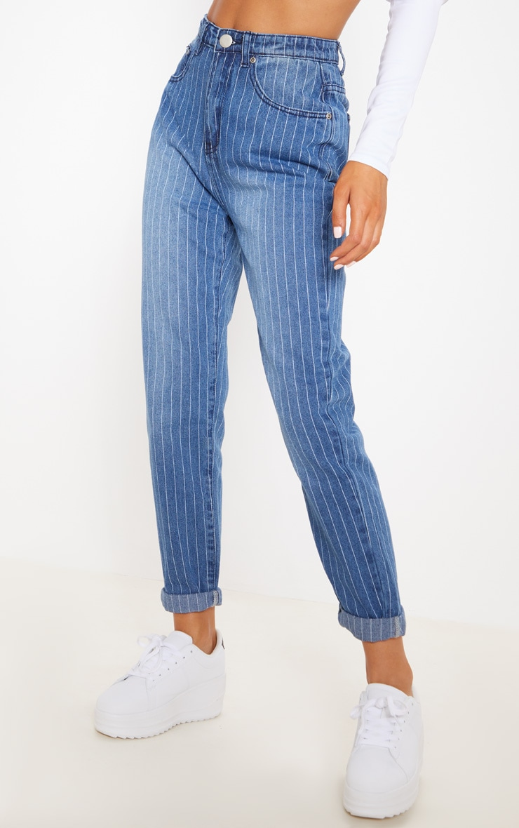Blue Striped Turn Up Mom Jeans 2
